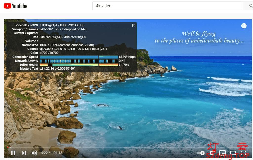 觅云MeCloud机场看YouTube油管4K视频测速